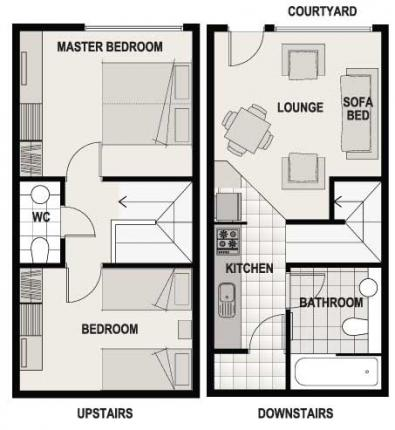 Two Bed Courtyard Floor Plan