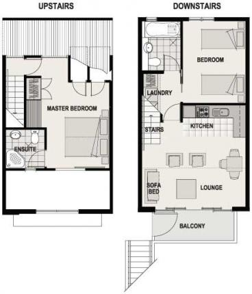 Two Bed Balcony Floor Plan